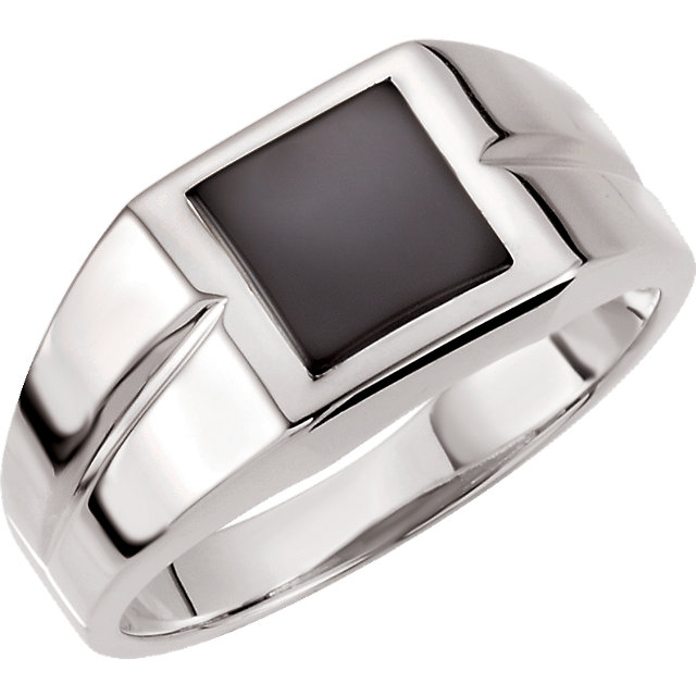 Sterling Silver 8mm Square Onyx Ring