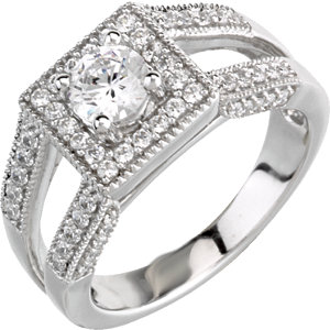 14kt White A/4 ATW Diamond Semi-Mount Engagement Ring for 4.4mm Round Aenter