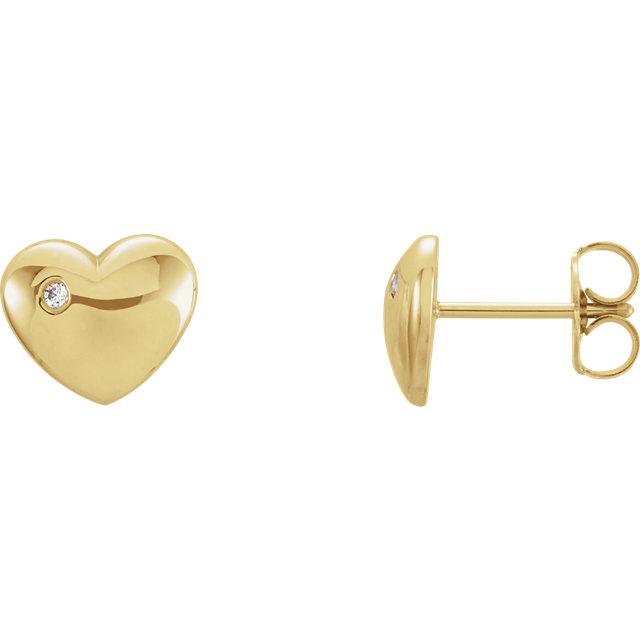 14K Yellow .02 CTW Diamond Heart Earrings