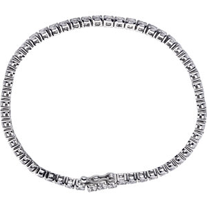 Sterling Silver 3mm Round Cubic Zirconia Bracelet