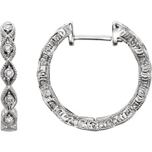 14K White 1/8 CTW Diamond Hoop Earrings