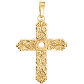 Cross Pendant Mounting for Round Stone