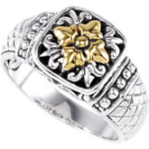Sterling Silver Fashion Ring with 18KT Yellow Accents