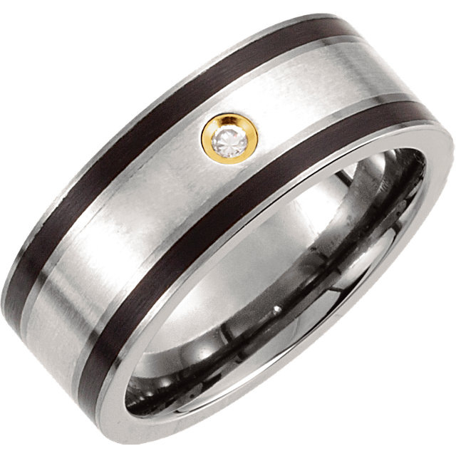 Titanium, Sterling Silver Inlay, Black Enamel & 14K Gold Plate 9mm .06 CTW Diamond Band Size 11