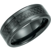 Black Titanium Beveled Band with Black Carbon Fiber Inlay