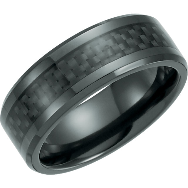 Black Titanium 8mm Beveled Band with Black Carbon Fiber Inlay