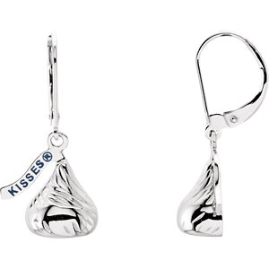 14kt White HERSHEYS KISSES Flat Back Dangle Earrings