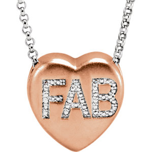 ".007 CTW Diamond ""Fab"" Heart Necklace"