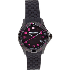 Wenger® Squadron Ladies<br> Black Dial with Black<br> Silicone Strap