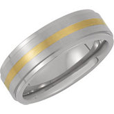 7.0mm Titanium Band with 14kt Yellow Inlay