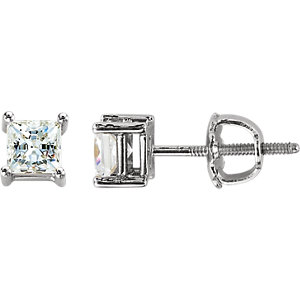 14K White 4.5mm Cubic Zirconia Square Earrings with Screw Posts & Backs