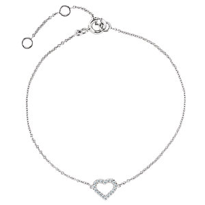 "14K Rose .06 CTW Diamond Heart 7"" Bracelet"