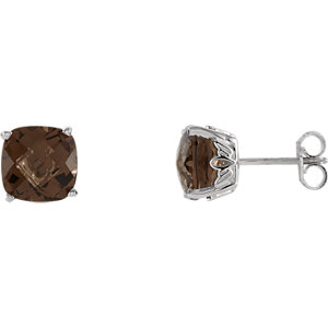 Round 4-Prong Scroll Setting® Earring Mounting or Complete with Gemstone