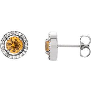 14kt White Yellow<br> Sapphire & 1/  ATW<br> Diamond Earrings