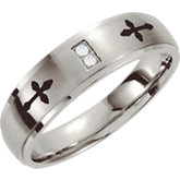 Stainless Steel .02 ct tw Diamond Band with Black Laser Cross Design