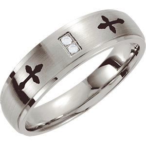 Stainless Steel .02 CTW Diamond Band with Black Laser Cross Design