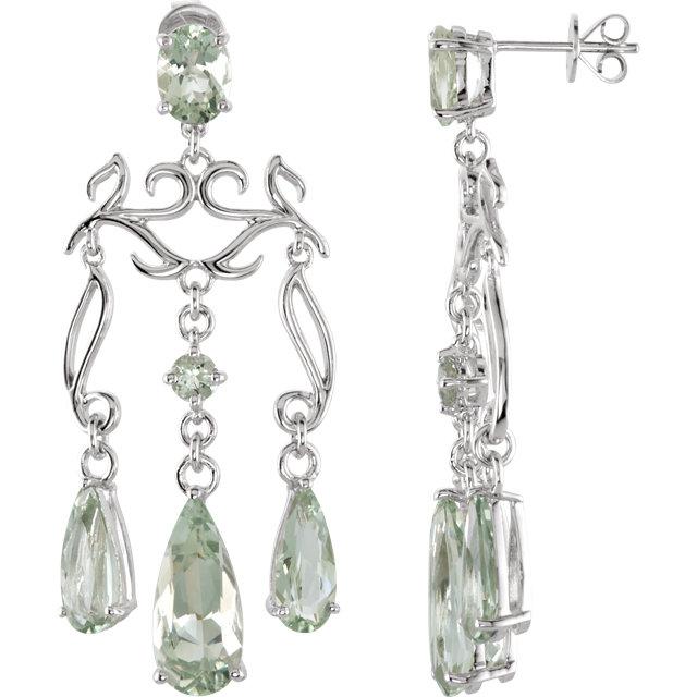 Sterling Silver Green Amethyst Chandelier Earrings