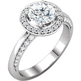 Diamond Semi-mount Halo-Style Knife Edge Engagement Ring, Mounting or Band