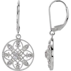 14kt White 1/4 ATW<br> Diamond Filigree Lever<br> Back Earrings