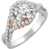 Diamond Semi-mount Criss-Cross Halo-Style Engagement Ring or Band