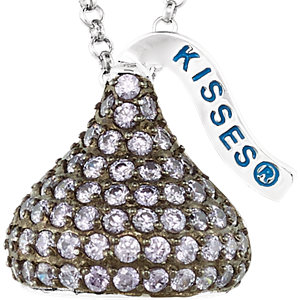 Sterling Silver February<br> HERSHEYS KISSES Aubic<br> Zirconia 16-1