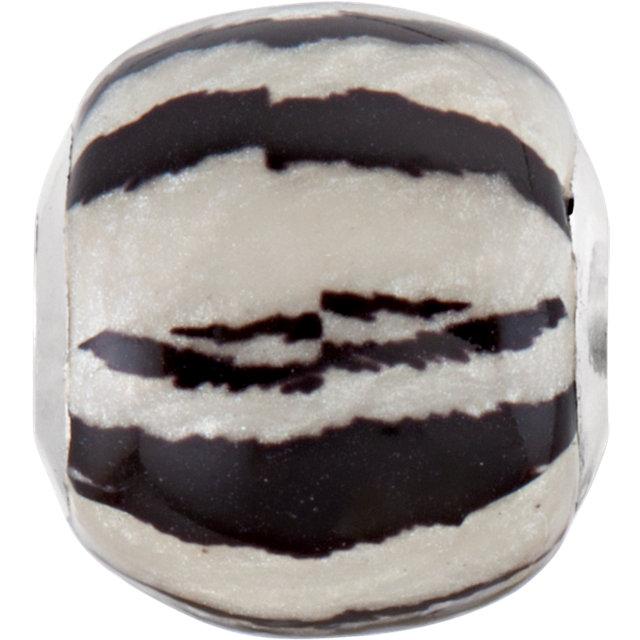 Sterling Silver 12x13mm Zebra Bead