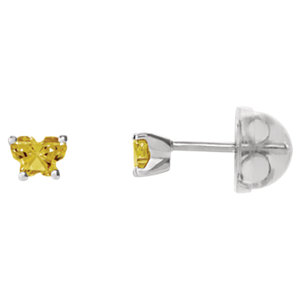 Sterling Silver November Bfly® AZ Birthstone Youth Earrings with Safety Backs & Box