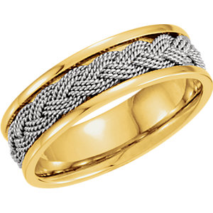 Two-Tone 7mm Comfort-Fit Hand-Woven Band