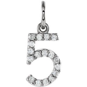 14K White .08 CTW Diamond Numeric Charm or Pendant