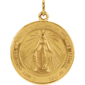 14kt Yellow 20.5mm Miraculous Medal