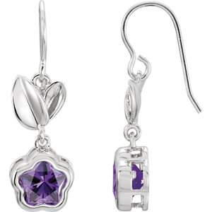 Sterling Silver Rose Cubic Zirconia BFlower™ Earrings with Box