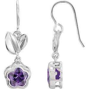 Sterling Silver Purple Cubic Zirconia BFlower™ Earrings with Box