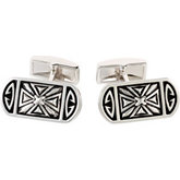 Cross Design with Black Enamel Cuff Links