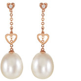 Freshwater Cultured Pearl & .02 ct tw Diamond Dangle Earrings