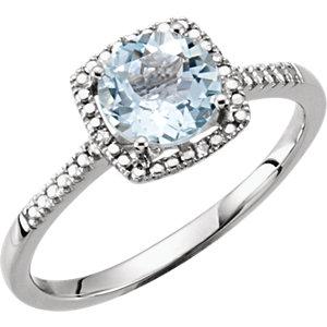 Sterling Silver<br> Aquamarine & . 1 ATW<br> Diamond Ring
