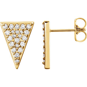 14K Yellow 1/3 CTW Diamond Triangle Earrings with Backs