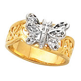 Two Tone Butterfly Ring