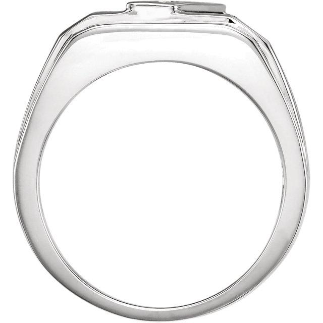 14K White Men-s Onyx & 1/8 CTW Diamond Ring