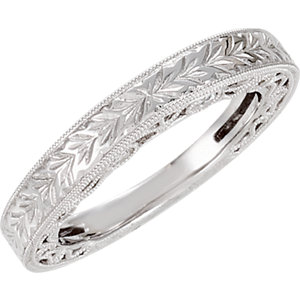 Diamond Semi-Mount Hand-Engraved Engagement Ring or Band