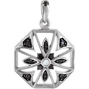 Black Spinel & Diamond Pendant