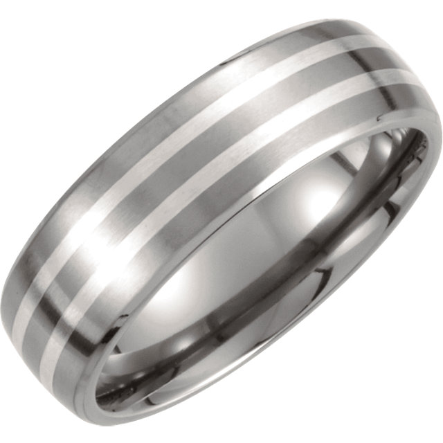 Titanium & Sterling Silver Inlay 7mm Satin Finish Band Size 8.5