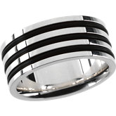 Gents Sterling Silver and Rubber Fashion Ring