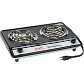 Double Burner Electric Hot Plate, 12A/1400W