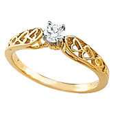 Heart Motif Ring Cathedral Engagement or Band Mounting