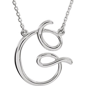 """Sterling Silver """"G"""" Script Initial 16"""" Necklace"""