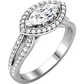 Diamond Halo Semi Mount Engagement Ring or Mounting