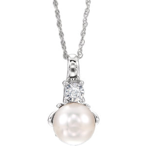 14K White Freshwater Cultured Pearl & .02CTW Dia Necklace