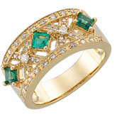Genuine Emerald & Diamond Anniversary Band
