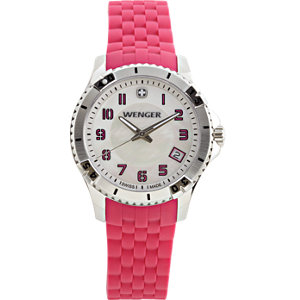 Wenger® Squadron Ladies White Dial with Pink Silicone Rubber Strap