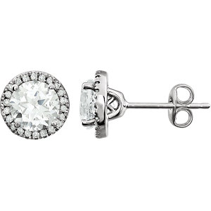 14kt White Areated White<br> Sapphire & 1/  ATW<br> Diamond Earrings